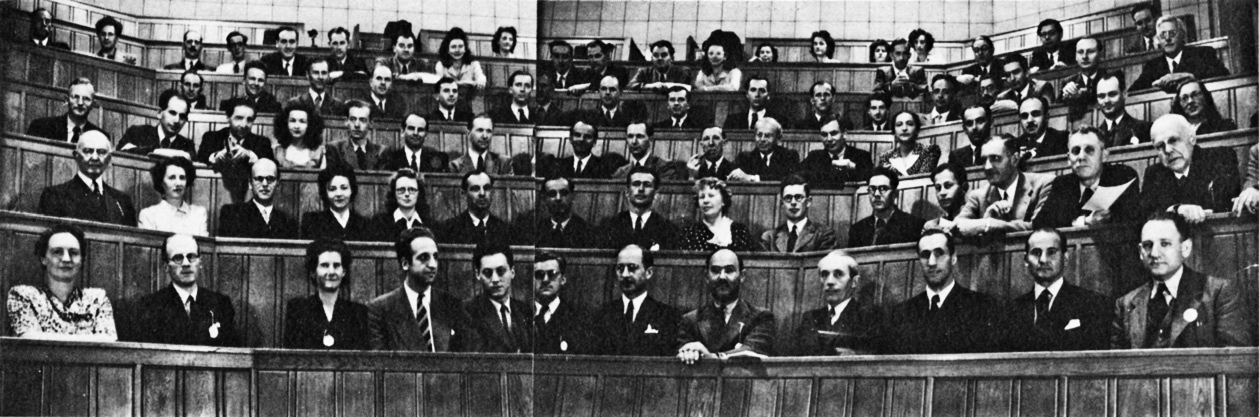 Photo of The Founding Meeting in 1947, the first International Meeting which was held in the lecture theatre at theNational Hospital for Nervous Diseases, Queen Square, London.